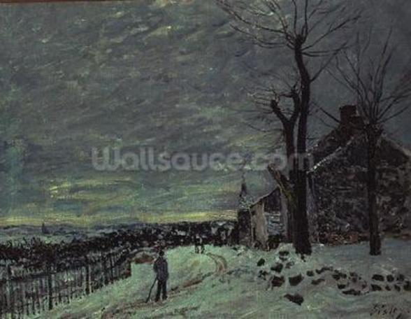 Snow at Veneux-Nadon, c.1880 (oil on canvas) wall mural