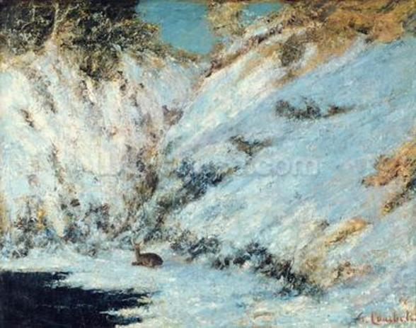 Snowy Landscape, 1866 (oil on canvas) mural wallpaper