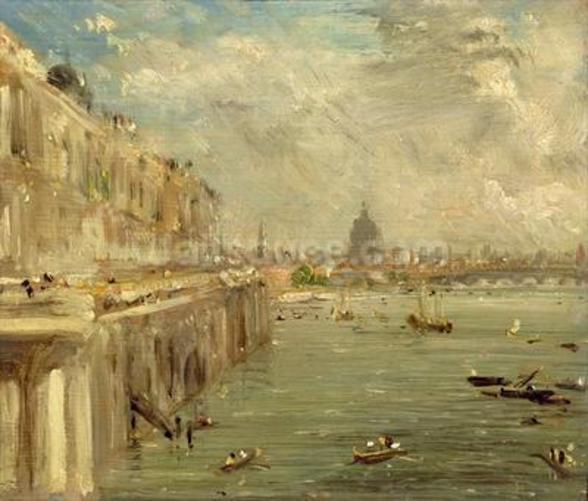 Somerset House Terrace from Waterloo Bridge, c.1819 (oil on panel) wallpaper mural