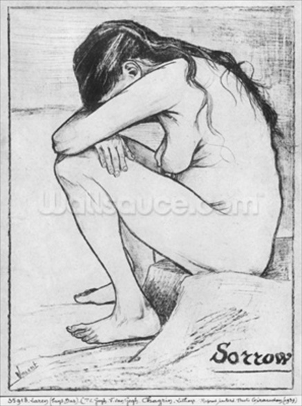 Sorrow, 1882 (litho) (b/w photo) wallpaper mural