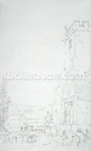 South Porch and Tower of an Unidentified Church, c.1790-95 (pencil on laid paper) wall mural