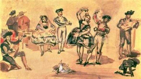 Spanish Dancers, 1862 (w/c, pencil and ink) wall mural