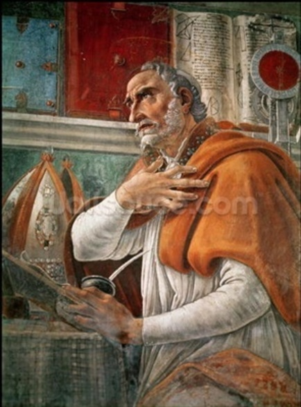 St. Augustine in his Cell, c.1480 (fresco) (detail of 29143) mural wallpaper