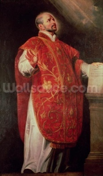 St. Ignatius of Loyola (1491-1556) Founder of the Jesuits (oil on canvas) wallpaper mural