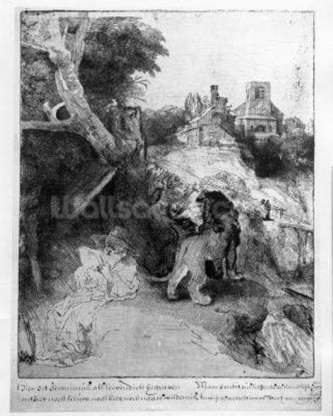St. Jerome in an Italian landscape, c.1653 (etching) wallpaper mural