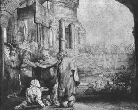 St. Peter and St. John at the Entrance to the Temple, 1649 (etching) (b/w photo) mural wallpaper