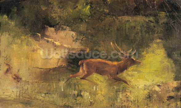 Stag Running through a Wood, c.1865 (oil on canvas) wall mural