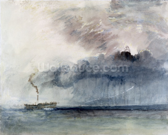 Steamboat in a Storm, c.1841 (w/c & pencil on paper) mural wallpaper