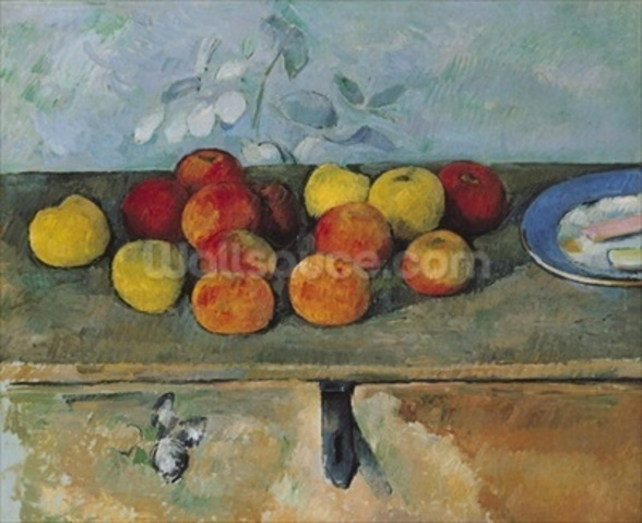 Still life of apples and biscuits, 1880-82 (oil on canvas) mural wallpaper