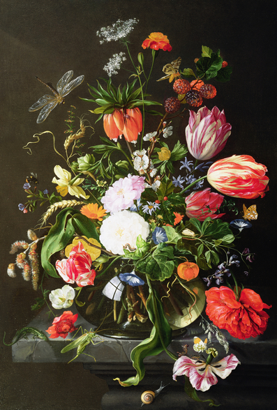 Still Life of Flowers, by Jan Davidsz de Heem wall mural