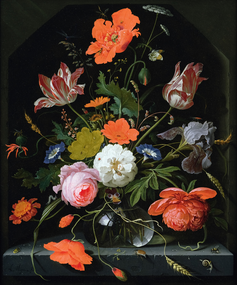 Still Life of Flowers in a Glass Vase (oil on canvas), by Abraham Mignon mural wallpaper