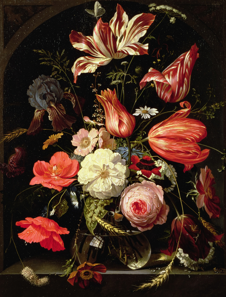 Still Life of Flowers on a Ledge, by Abraham Mignon mural wallpaper
