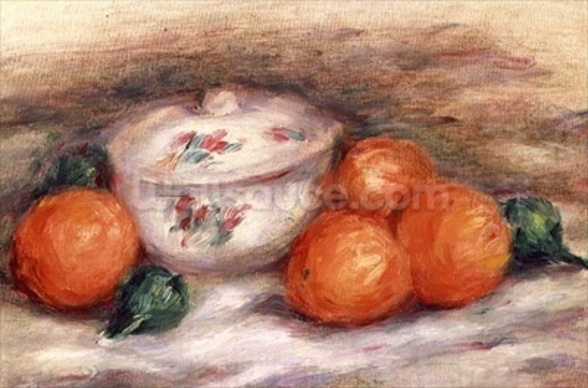 Still life with a covered dish and Oranges wall mural