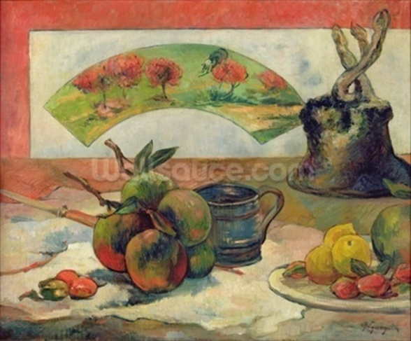 Still Life with a Fan, c.1889 (oil on canvas) wall mural