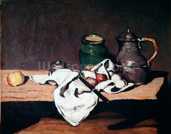 Still life with a tin kettle, 1869 (oil on canvas) mural wallpaper