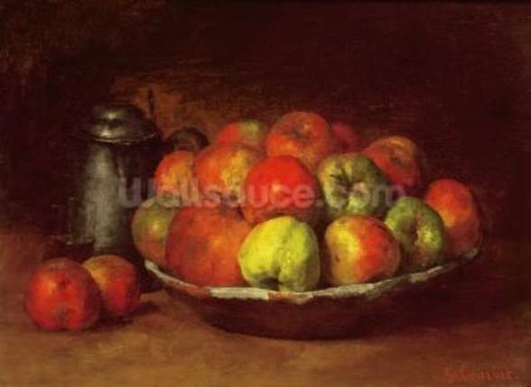 Still Life with Apples and a Pomegranate, 1871-72 (oil on canvas) mural wallpaper