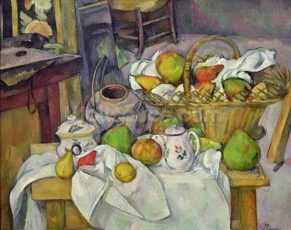 Still life with basket, 1888-90 (oil on canvas) mural wallpaper
