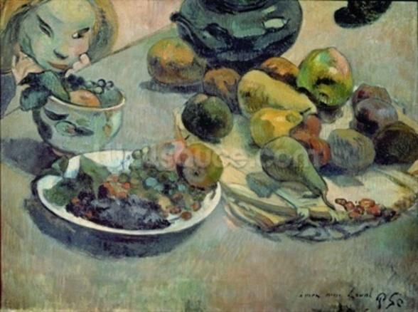 Still Life with Fruit, 1888 (oil on canvas) mural wallpaper