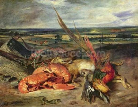 Still Life with Lobsters, 1826-27 (oil on canvas) wallpaper mural