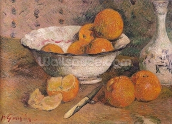 Still life with Oranges, 1881 (oil on canvas) wallpaper mural