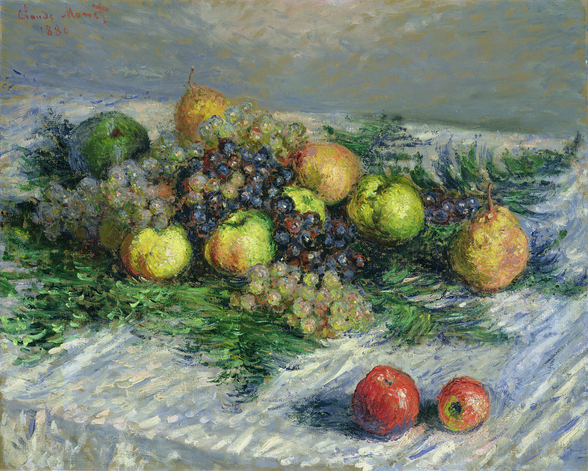 Still Life with Pears and Grapes, 1880 (oil on canvas) wall mural
