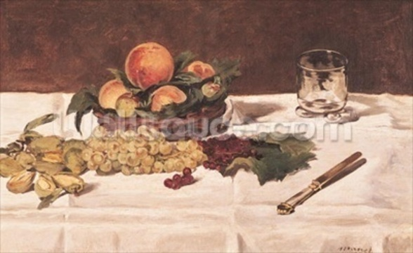 Still Life: Fruit on a Table, 1864 (oil on canvas) mural wallpaper