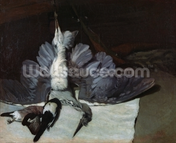 Still-Life: Heron with Spread Wings, 1867 (oil on canvas) mural wallpaper