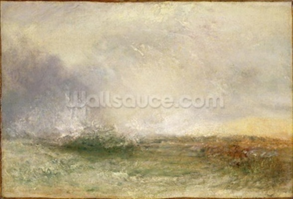 Stormy Sea Breaking on a Shore, 1840-5 (oil on canvas) wallpaper mural