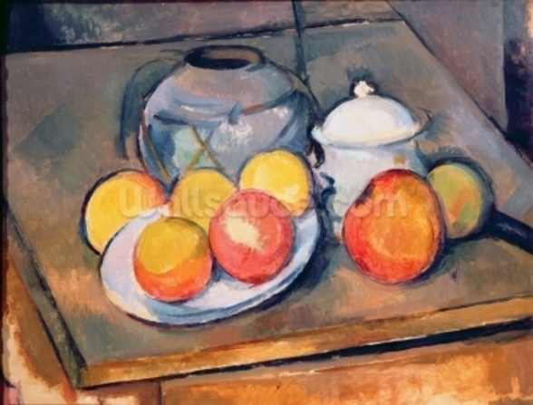 Straw-covered vase, sugar bowl and apples, 1890-93 (oil on canvas) (also see 287555) wall mural