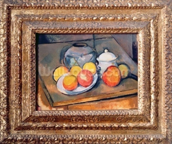 Straw-covered vase, sugar bowl and apples, 1890-93 (oil on canvas) (also see 393804) wall mural