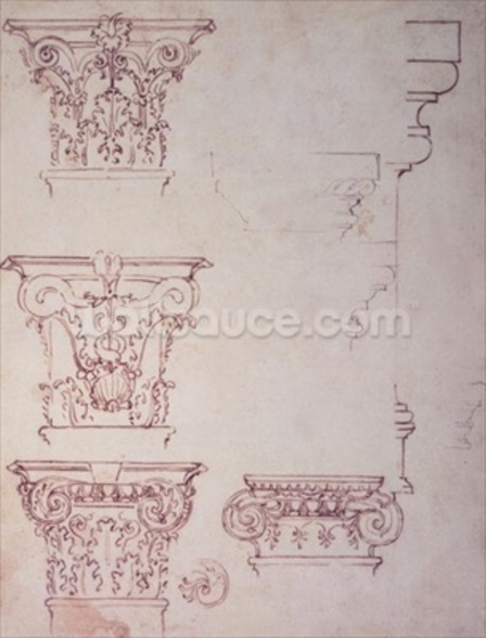 Studies for a Capital (brown ink) wall mural