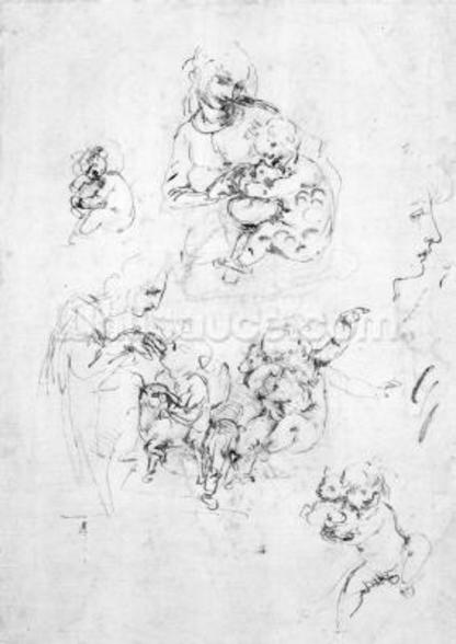 Studies for a Madonna with a cat, c.1478-80 (pen and ink over black chalk on paper) wall mural