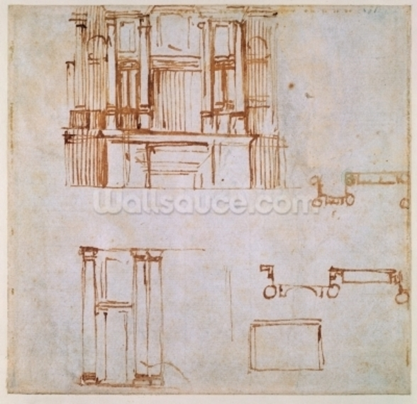 Studies for a monumental wall tomb (for the tombs of Clement VII and Leo X projected for the choir of San Lorenzo, Florence?) 1525-26 (pen & brown in on paper) (recto) (for verso see 191780) wall mural