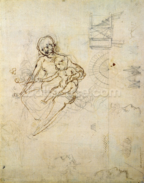 Studies for a Virgin and Child and of Heads in Profile and Machines, c.1478-80 (pencil and ink on paper) wall mural