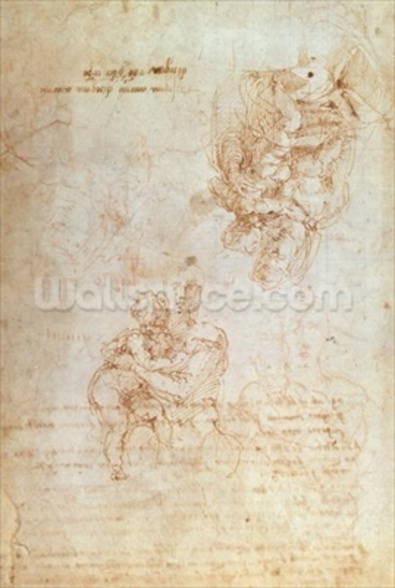 Studies of Madonna and Child (ink on paper) wallpaper mural