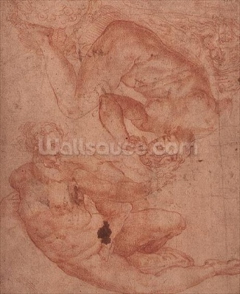 Studies of Nudes (red chalk on paper) wall mural