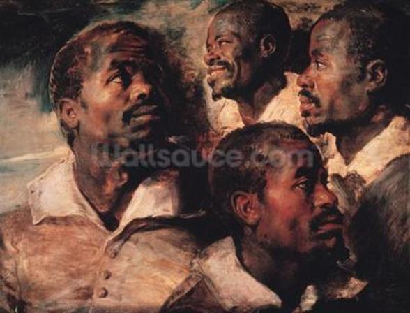 Studies of the Head of a Negro (oil on canvas) mural wallpaper