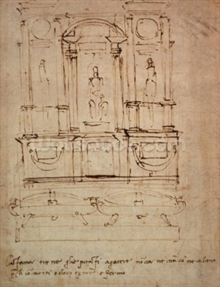 Study for a double tomb for the Medici Tombs in the New Sacristy, 1521 (pen & ink on paper) wallpaper mural