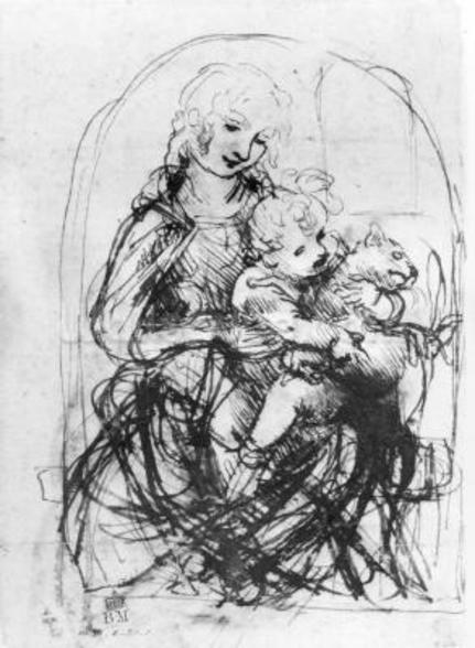 Study for a Madonna with a Cat, c.1478-80 (pen & ink over stylus underdrawing on paper) wall mural