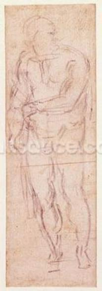 Study for Adam in The Expulsion, 1508-12 (charcoal on paper) (recto) wall mural