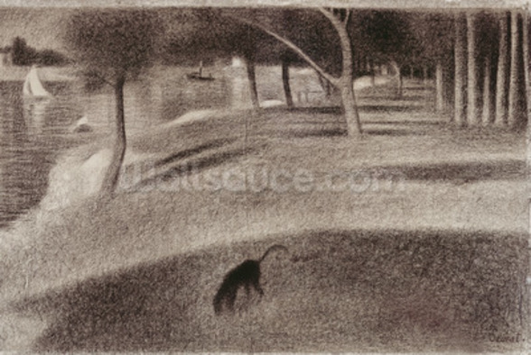 Study for Sunday Afternoon on the Island of La Grande Jatte, c.1884 (conte crayon on paper) wall mural