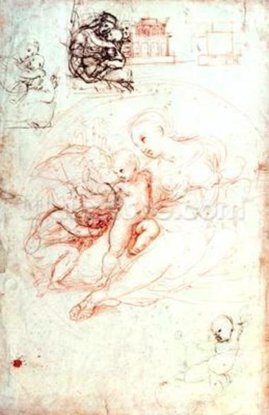 Study for the Alba Madonna, c.1508-09 (pen & ink on paper) mural wallpaper