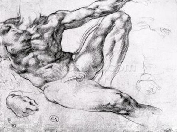 Study for the Creation of Adam (pencil on paper) (b/w photo) wall mural