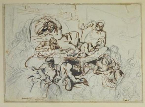 Study for the Death of Sardanapalus, 1864 (pen & ink and graphite on paper) wall mural
