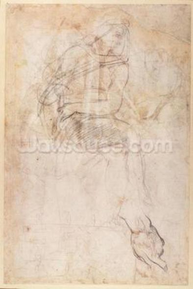 Study for the Ignudi above the Persian Sibyl in the Sistine Chapel, 1508-12 (charcoal on paper) (verso) wall mural