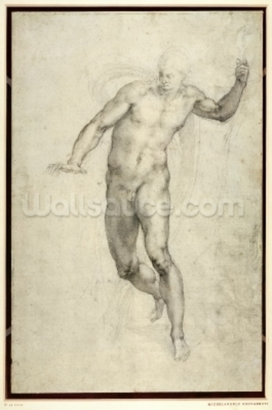 Study for The Last Judgement (W.54 recto) (pencil on paper) wallpaper mural