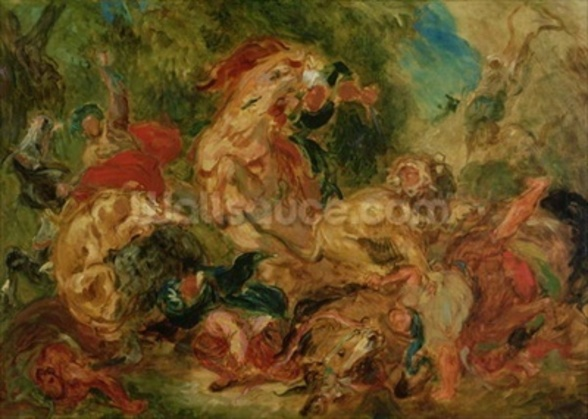 Study for The Lion Hunt, 1854 (oil on canvas) wall mural