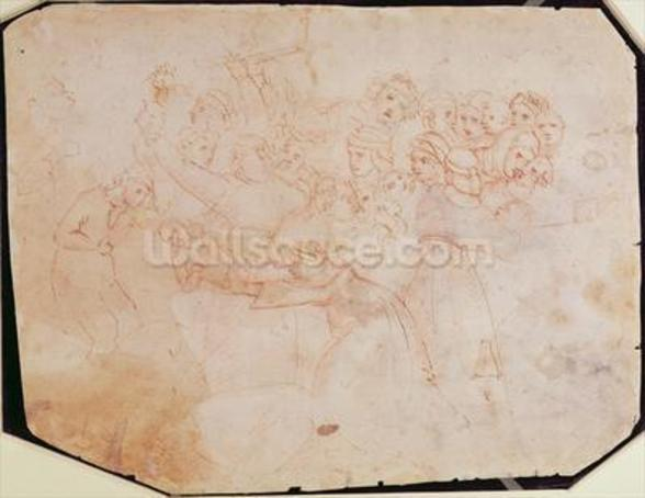 Study for the Massacre of the Innocents (brown ink on paper) (recto) (for verso see 191770) wallpaper mural