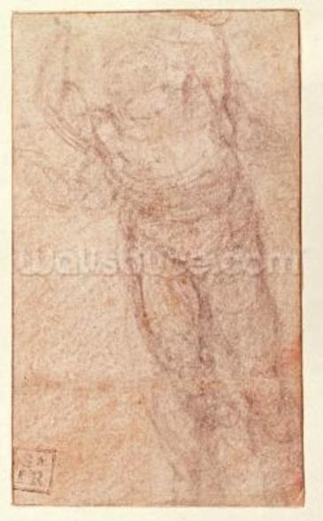 Study for The Resurrection, c.1532-34 (red & black chalk on paper) (recto) wall mural