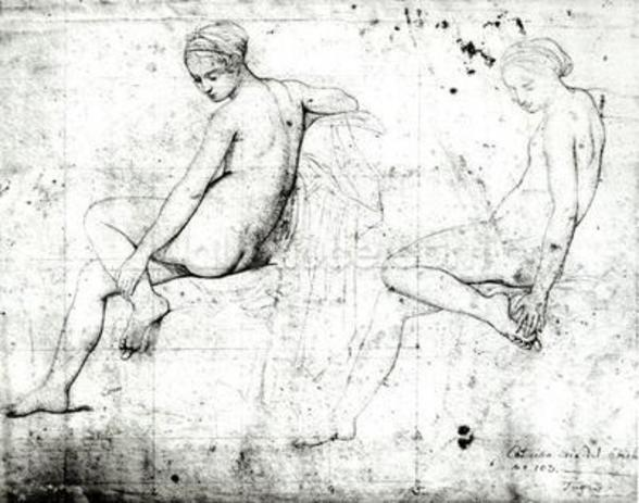 Study for the Turkish Bath (graphite on paper) (b/w photo) wallpaper mural